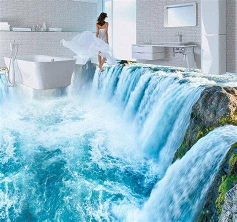 amazing white waterfall floor mural photo flooring