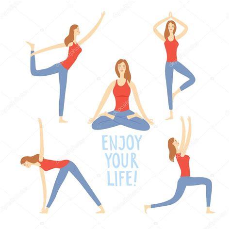 imagenes de yoga animadas conjunto de dibujos animados de chicas haciendo ejercicios
