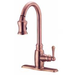 shop danze opulence antique copper pull down kitchen faucet at lowes com