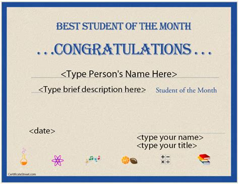 education certificates best student of the month