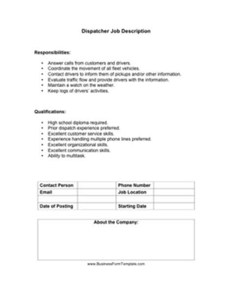 dispatcher description template