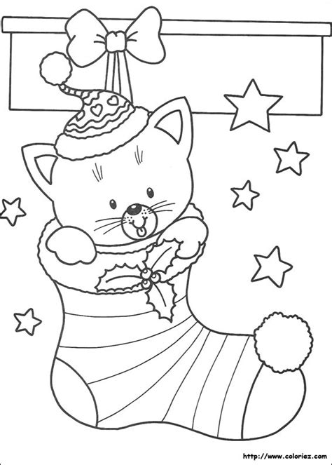 coloring pages of christmas cats coloriage chaussette avec petit chat