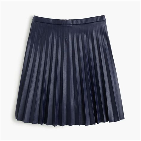 j crew faux leather pleated mini skirt in blue lyst
