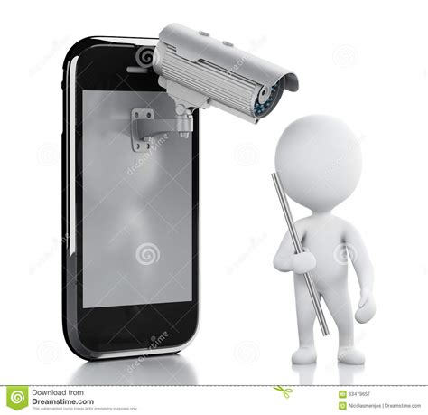 Cctv Mobil 3d white thief smartphone with security cctv stock illustration image 63479657
