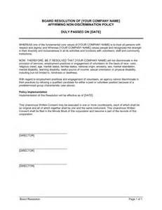 board resolution affirming non discrimination policy