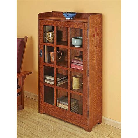 arts and crafts bookcase woodworking plan from wood magazine