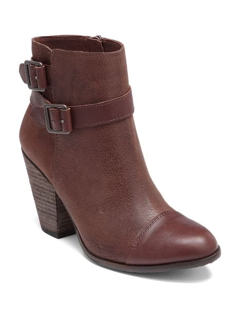 vince camuto hasia suede ankle boots in brown lyst