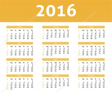 calendario de 2016 do iperj calend 225 rio do ano de 2016 na cor amarela e l 237 ngua inglesa