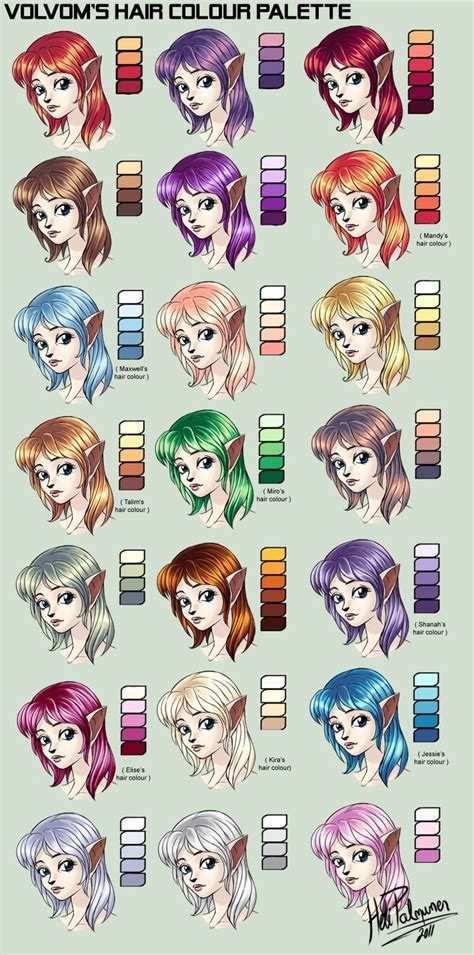 My Hair Colour Palette By Volvom Deviantart Com On Anime Hair Color