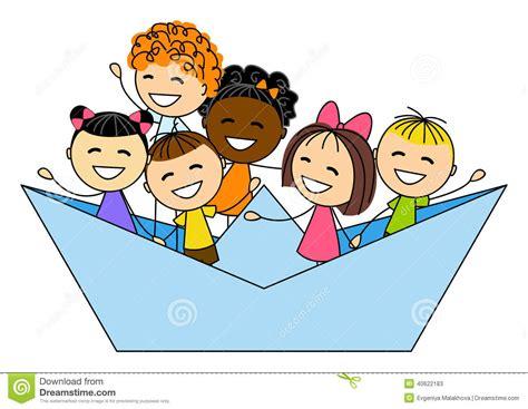 clipart bimbi bambini svegli in barca di carta illustrazione vettoriale
