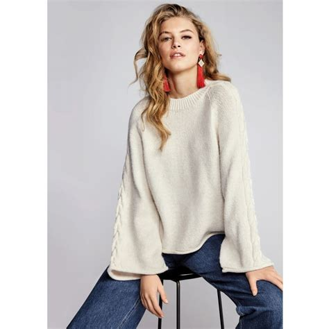 wide cable knit sleeve jumper jumpers knitwear