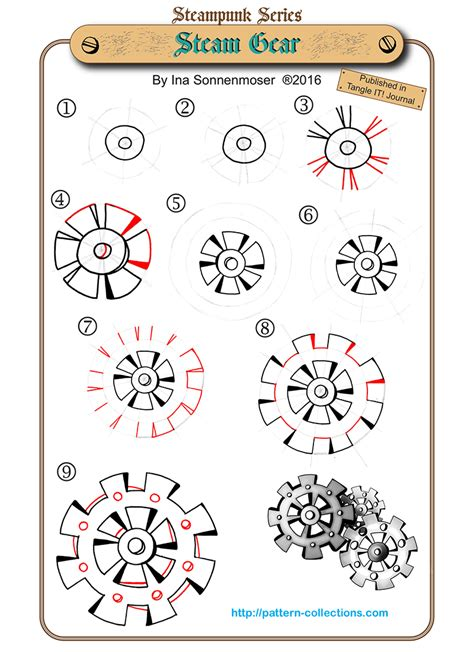 zentangle pattern cogwheel steunk tangling machine parts zentangles doodles