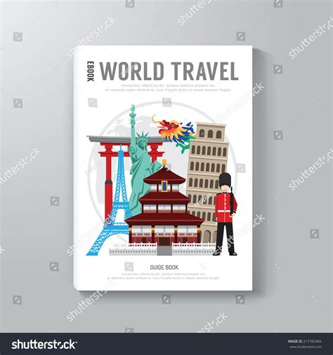 book cover template illustrator world travel business book template design stock vector