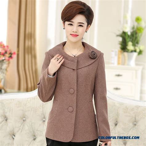 middle age mom fashion cheap middle aged ladies women woolen coat fashion 40 50