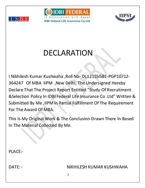 Mba Project Report On Idbi Federal by Idbi Federal Insurance Co Ltd