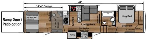 travel trailer toy hauler floor plans 4250w weekend warrior toy hauler 5th wheel floorplan