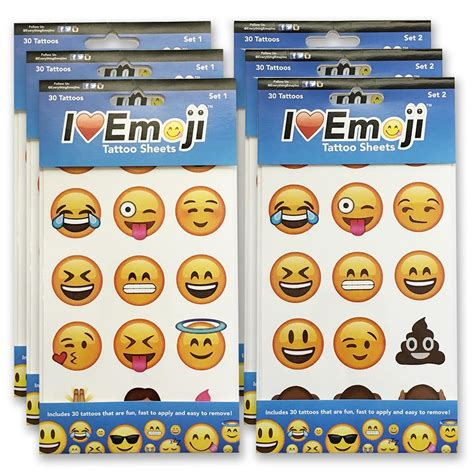 6 pack tattoo emoji temporary clothing pack for clothing and