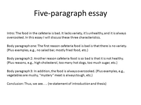 Five Paragraph Essay Hunger by The Five Paragraph Essay Ppt