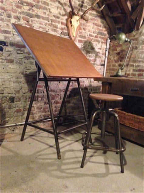 Ancienne Table D Architecte Tabouret Table A Dessin Industriel Occasion L
