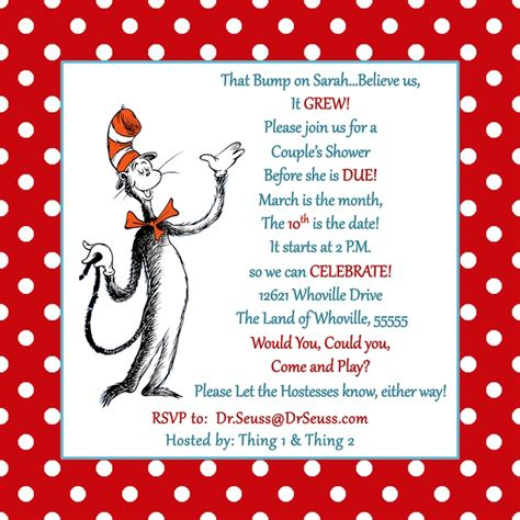 Dr Seuss Baby Shower Invitations by 9 Best Images Of Free Printable Dr Seuss Baby Shower