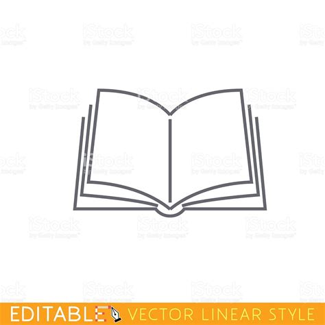 sketchbook vector open book editable outline sketch icon stock vector
