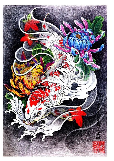 tattoo oriental pdf drawn koi ikan pencil and in color drawn koi ikan
