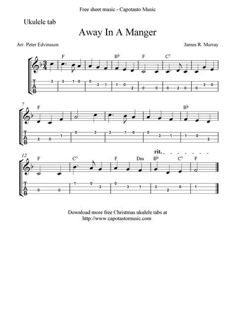 dollhouse ukulele chords easy quot away in a manger quot ukulele sheet free printable