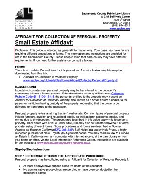 probate code section 13100 california affidavit for collection of personal property