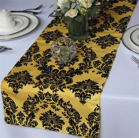 yellow pattern table runner yellow and black flocked damask table runner taffeta wedding