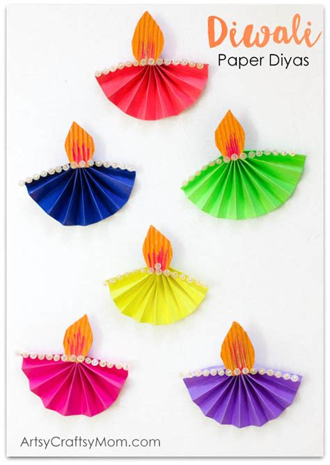 Paper N Craft - accordion fold diwali paper diya craft artsy craftsy