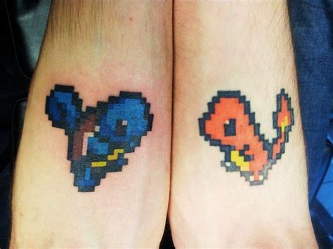 charmander tattoo squirtle and charmander 8bit tattoos ideas