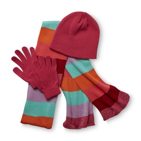 joe boxer s winter hat gloves striped scarf