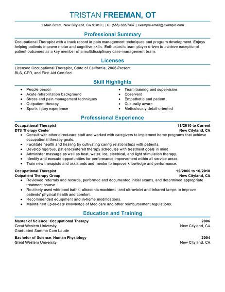 Occupational Therapy Resume Exle by Occupational Therapist Resume Exle Sle Resumes Livecareer