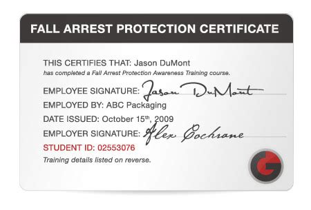 Fall Protection Certificate Template Go Safety Easy To Use Certification Training For Whmis Tdg More