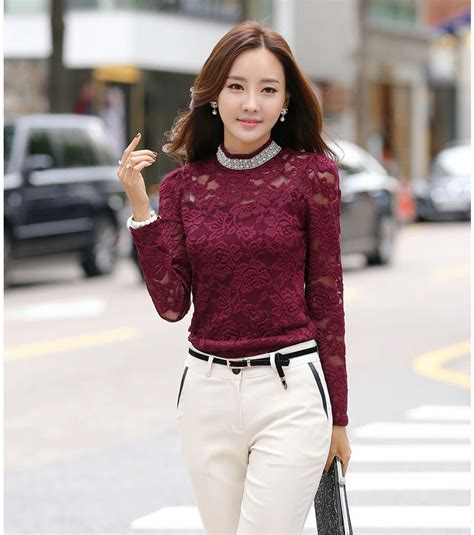 Fashion Blouse Hiraku Tosca Best Seller selling top lace turtle collar sleeve fitted top casual fashion blouse