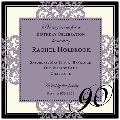 90th birthday invitations templates decorative square border eggplant 90th birthday