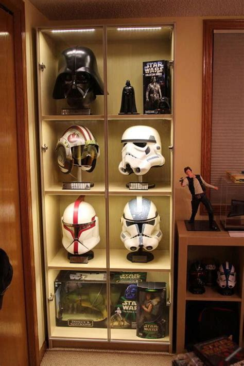cool star wars action figure display  man cave