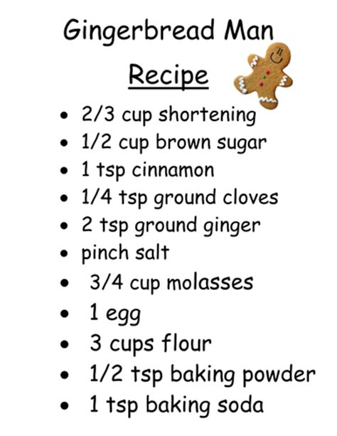 printable gingerbread man recipe gingerbread man story strip by andreaberry teaching