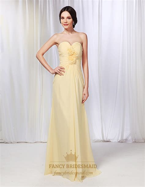 Light Yellow Bridesmaid Dresses by Chiffon Strapless Ruched Bodice Bridesmaid Dress Pale