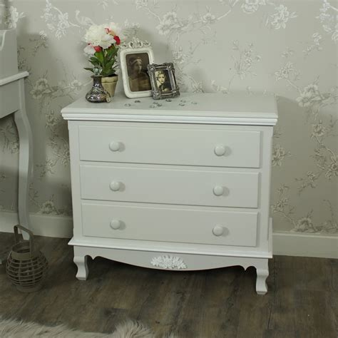 grey white 3 drawer chest shabby vintage chic french