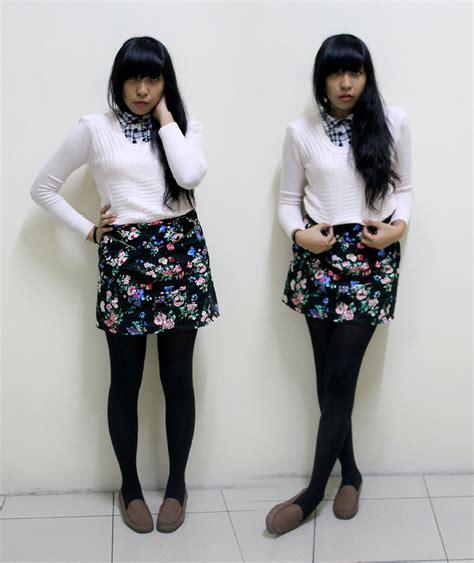 Dress Yunita yunita elisabeth floral skirt brown loafer sweater