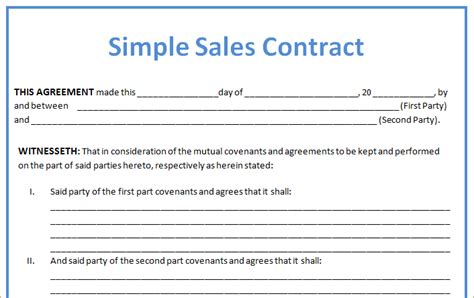 free business sale contract template 4 sales contract slereport template document report