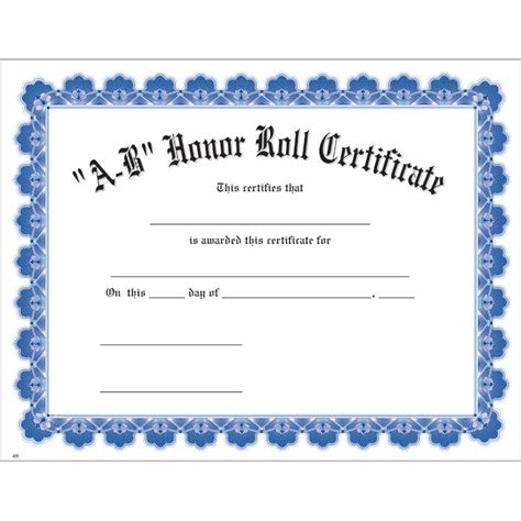 a b honor roll certificate template a b honor roll blue uw certificate jones school supply