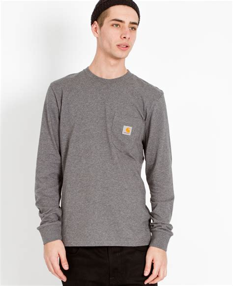 Hoodie Carhartt 07 Jersiclothing carhartt wip sleeve pocket t shirt grey in gray for lyst