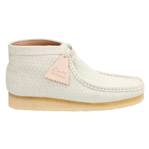 clarks wallabee boot in white for lyst