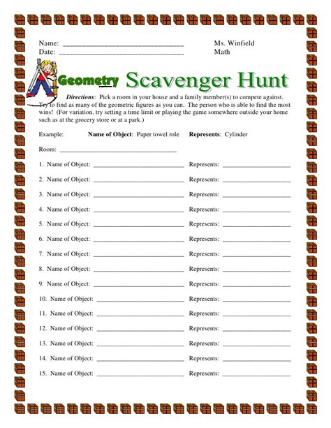 scavenger hunt template geometry scavenger hunt