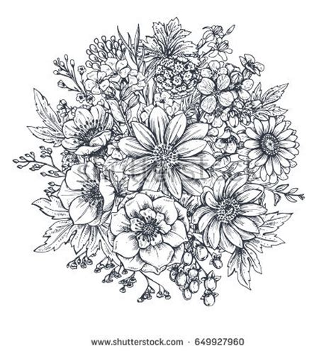 flower collage tattoo designs collection flowers plants monochrome stock