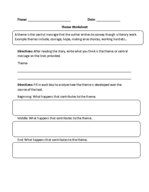 identifying themes in literature worksheets theme worksheet identifying and development part 1