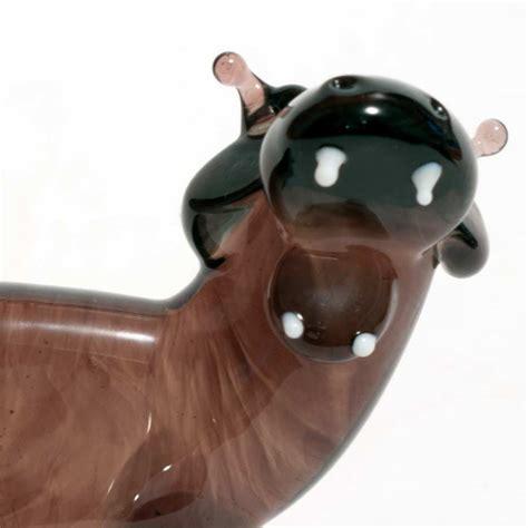 Hippo Black black hippo glass figurine blown glass animals