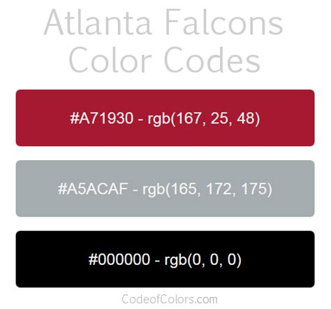 atlanta falcons colors hex and rgb color codes